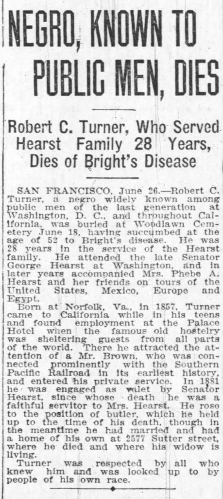 The Oakland Tribune obituary for Robert Turner