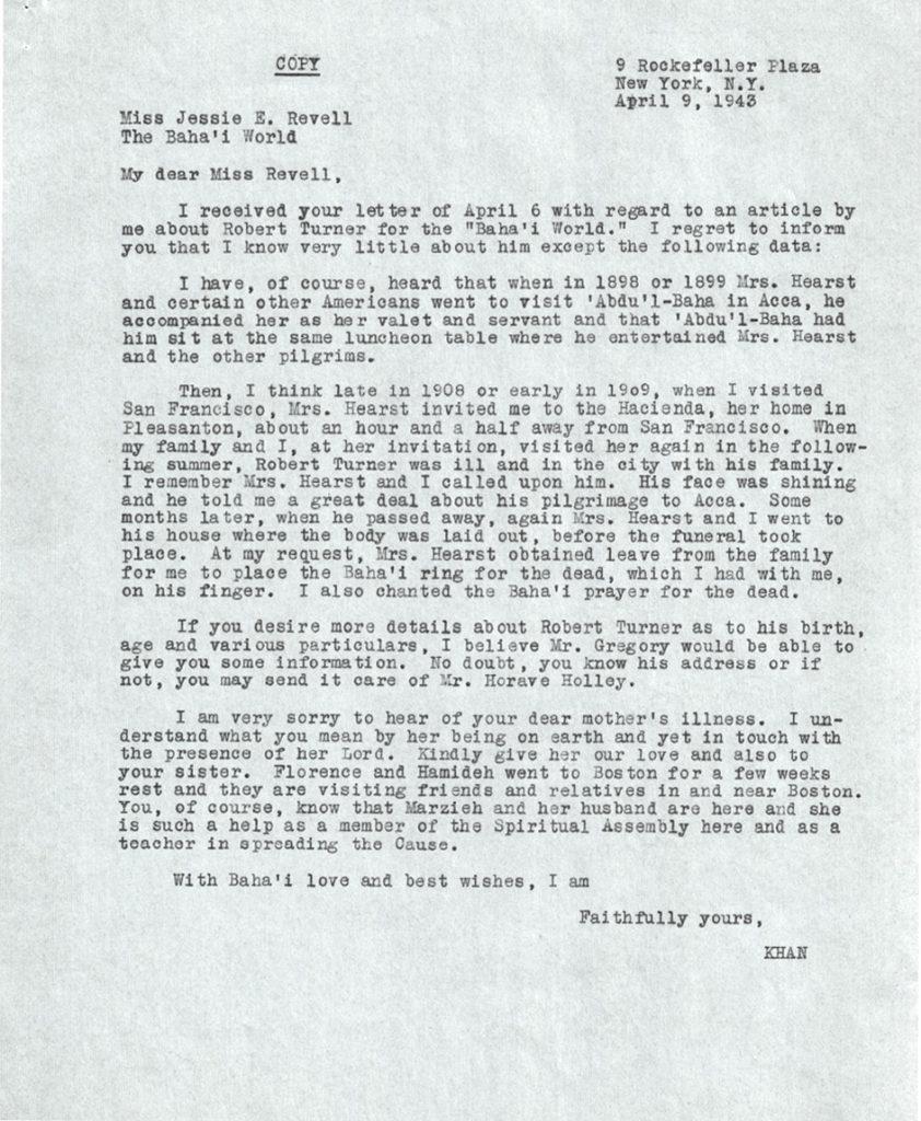A letter about Robert Turner by Mirzá Ali-Kuli Khan.